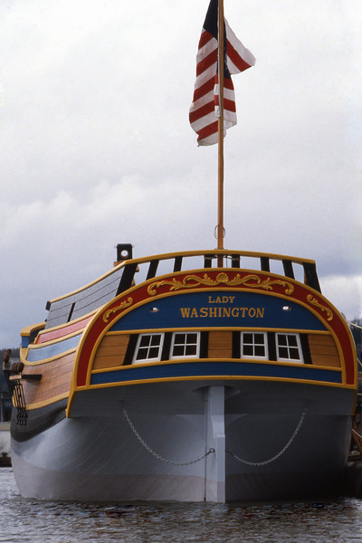 The Lady Washington in final preparations for her launch on March 7, 1989. Photo by Grays Harbor Historical Seaport Authority.