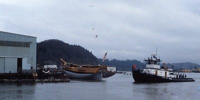 The Lady Washington in final preparations for her launch on March 7, 1989. Photo by Roy Pearmain.