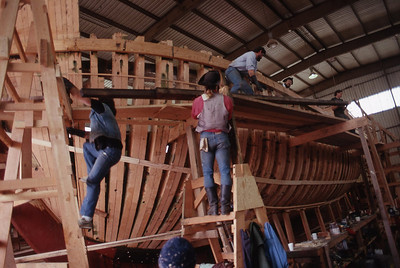 The Lady Washington under construction in Aberdeen, Wash. Her keel was laid on Sept. 13, 1987 and she was launched on March 7, 1989. Photo by Brandon Ford.