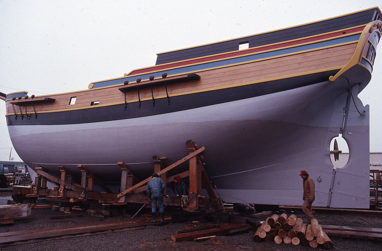 The Lady Washington a short time before her launch in Aberdeen, Wash. Her keel was laid on Sept. 13, 1987 and she was launched on March 7, 1989. Photo by Brandon Ford.
