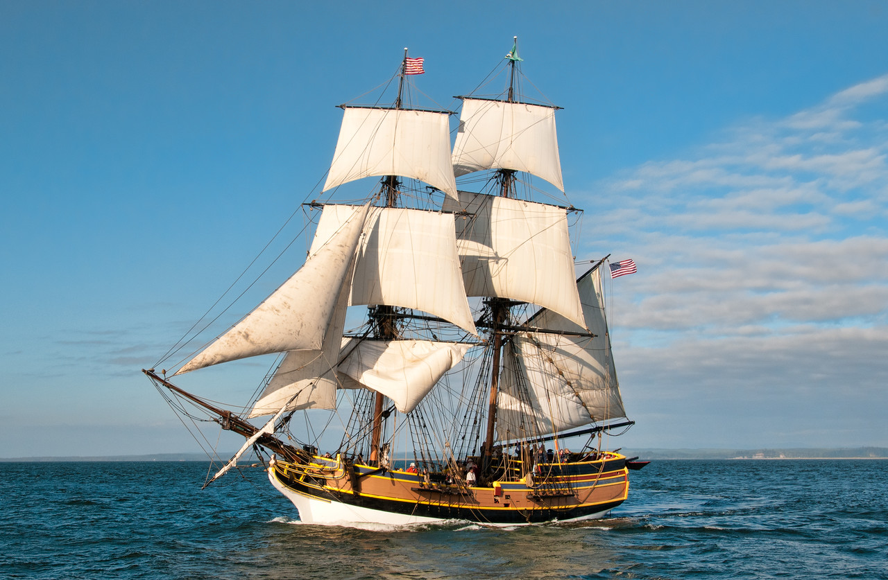 Lady Washington under sail at sea. Photo by Bob Harbison.