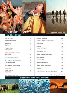 "Index page of Interview in ""Better Photography"" Nov'05 issue which is ""By far India and South Asia's largest selling photography magazine"" under ""Tour de Force""."