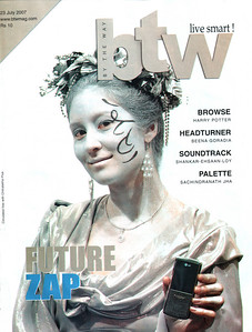 "This cover page photo of LG's Shine model with hand phone (mobile) was taken by me in CommunicAsia 2007, Singapore and was printed in the BTW Magazine (By The Way) 23rd July 2007 issue article ""Future Zap"".  http://www.btwmag.com/    Article can be read at:   http://suchit.net/writing/index.html    More photos from CommunicAsia can be found here:   http://photos.suchit.in/gallery/3083676/"