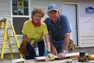 Linda and Millard Fuller, co-founders of The Fuller Center for Housing, on a blitz build site in 2006 in Shreveport. Millard worked to help people have simple, decent places up until the day he died at age 74 in 2009. Linda remains active in the ministry today.