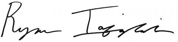 Ryan Iafigliola's signature.