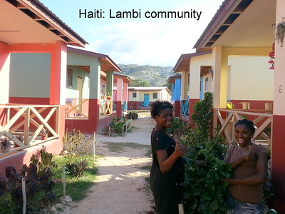 TRANSFORMATION: The Fuller Center has taken children and families in Haiti out of tents ... and put them into beautiful new homes like these. This is the Lambi Community, a clean, thriving, happy community of colorful duplexes west of Port-au-Prince, where our volunteers have built 56 homes. The Lambi village is complete, and we are now working east of Port-au-Prince in Croix-des-Bouquets and in the northern part of Haiti in Pignon.