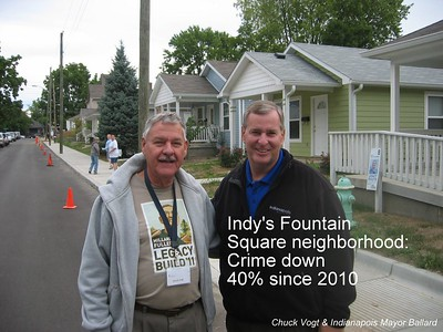 TRANSFORMATION: In the Fountain Square neighborhood of Indianapolis, crime is down 40 percent since the Millard Fuller Legacy Build was held their in 2010. The transformation has been accomplished by a mix of new home builds and rehabs.