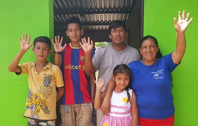 Sofia's family in their new home in Ahuachapán.