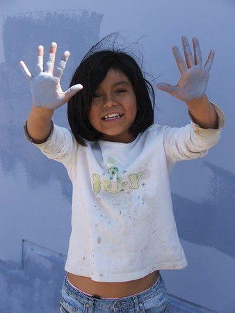 Young Zuinmy definitely got her hands dirty in the building of her family's La Florida, Peru, home.