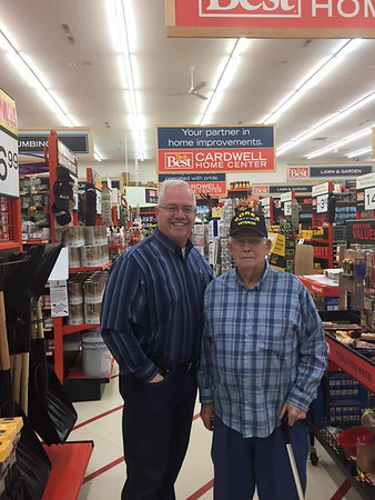 Jeff Cardwell with a veteran in his store