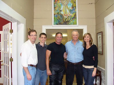 2009 04-21 Morris Dees, Millard's former business and law partner and founder of Southern Poverty Law Center in Montgomery, AL (blue shirt) drops by Fuller Center. L-R: Kirk Lyman-Barner, Ryan Iafigiola, Bill Murray, Morris & Faith Fuller. FCH staff photo