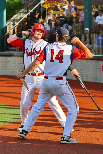 George P. Smith/The Montgomery Sentinel   <br /> Baltimore Redbirds'Tim Elko (24) and Brendan Cellucci (14) celebrate their teams lead during Game 2 of the Cal Ripken Collegiate Baseball League Championship Series played at Calvert Hall College High School in Baltimore on Sunday, July 29, 2018.
