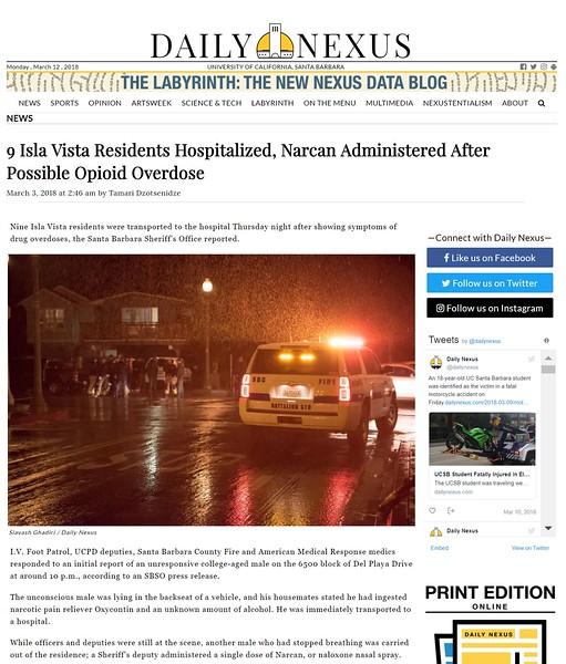 Opioid Overdose in Isla Vista