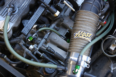 Emission control- Crank vent and air induction hoses, EFI pressure Reg, Green Mamba Hose skins