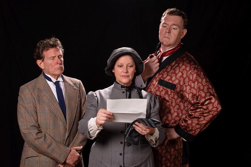 Nick Beschen (Watson); Lisa Rath (Mrs. Hudson); Jim Gallagher (Holmes) Photo Courtesy of Colburn Images