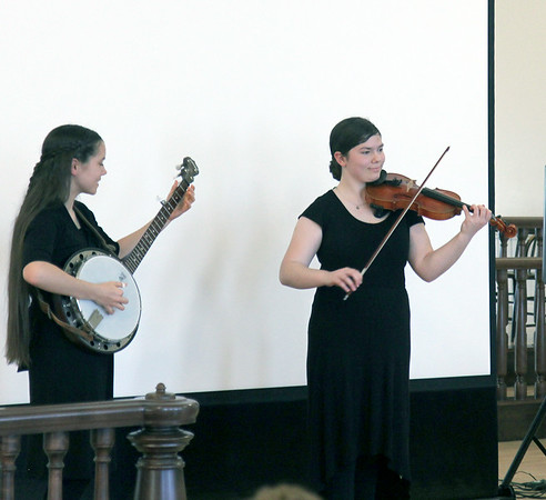 The Annable sisters, members of the Quintessential Quartet, perform Dixie during the Fourth Annual Celebration of Lincoln and His Times, held at by the Effingham County Courthouse Museum on Thursday night. Graham Milldrum photo