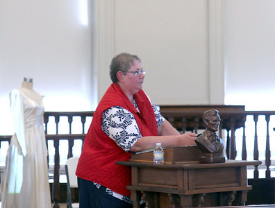 Linda Ruholl, a medical historian, speaks about Abraham Lincoln's health during a presentation on Thursday at the Effingahm County Courthouse Museum. Ruholl explored various theories about Lincoln's history and family, including malaria and the death of his children. Graham Milldrum photo