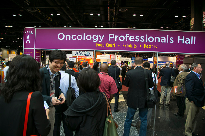 Chicago, IL - ASCO 2012 Annual Meeting: - Exhibit Hall opening  at the American Society for Clinical Oncology (ASCO) Annual Meeting here today, Sunday June 3, 2012.  Over 25,000 physicians, researchers and healthcare professionals from over 100 countries are attending the meeting which is being held at the McCormick Convention center and features the latest cancer research in the areas of basic and clinical science. Photo by © ASCO/Todd Buchanan 2012 Technical Questions: todd@toddbuchanan.com; ASCO Contact: photos@asco.org