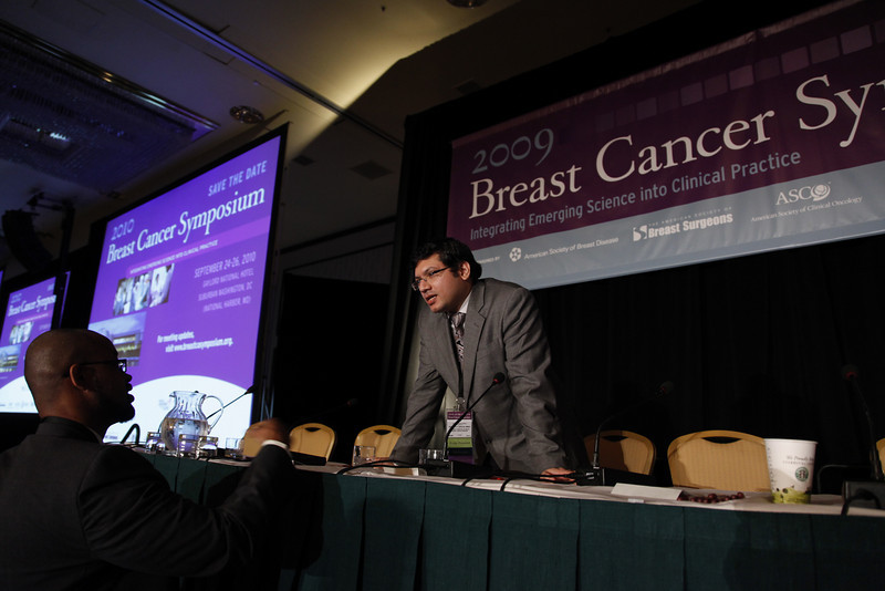 "San Francisco, CA - ASCO 2009 Breast Cancer Symposium: Bedanta P. Baruah discusess Abstract #22: ""Should axillary ultrasound and fine-needle aspiration cytology be performed routinely in early breast cancer patients eligible for breast conservation?"" during the General Session VI: Controversies in the Management of the Axilla at the 2009 American Society of Clinical Oncologists Breast Cancer Symposium here today, Friday October 9, 2009 at the Marriott Hotel. Friday October 9, 2009 Photo by © ASCO/Todd Buchanan 2009 Technical Questions: todd@toddbuchanan.com; Phone: 612-226-5154."