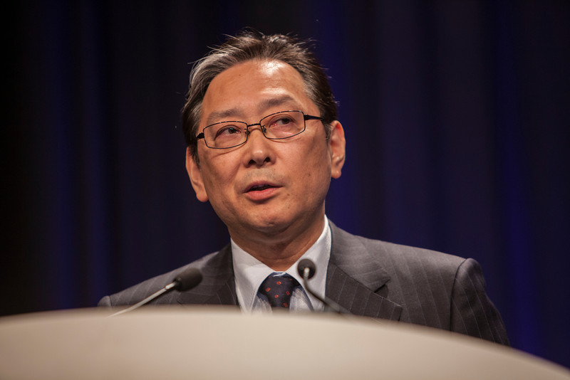 """Chicago, IL - ASCO 2013 Annual Meeting: - Dr. Kazuhiro Yoshida presents his abstract  """"SAMIT: A phase III randomized clinical trial of Aadjuvant paclitaxel followed by oral fluorinated pyrimidines for locally advanced gastric cancer"""" at the American Society for Clinical Oncology (ASCO) Annual Meeting here today, Monday June 3, 2013.  Over 30,000 physicians, researchers and healthcare professionals from over 100 countries are attending the meeting which is being held at the McCormick Convention center and features the latest cancer research in the areas of basic and clinical science. Photo by © ASCO/Silas Crews 2013 Technical Questions: todd@toddbuchanan.com; ASCO Contact: photos@asco.org"""
