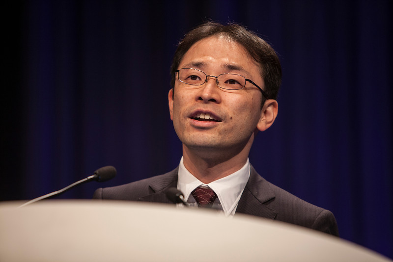 Chicago, IL - ASCO 2013 Annual Meeting: - Dr. Akira Fukutomi presents his abstract  4008 at the American Society for Clinical Oncology (ASCO) Annual Meeting here today, Monday June 3, 2013.  Over 30,000 physicians, researchers and healthcare professionals from over 100 countries are attending the meeting which is being held at the McCormick Convention center and features the latest cancer research in the areas of basic and clinical science. Photo by © ASCO/Silas Crews 2013 Technical Questions: todd@toddbuchanan.com; ASCO Contact: photos@asco.org