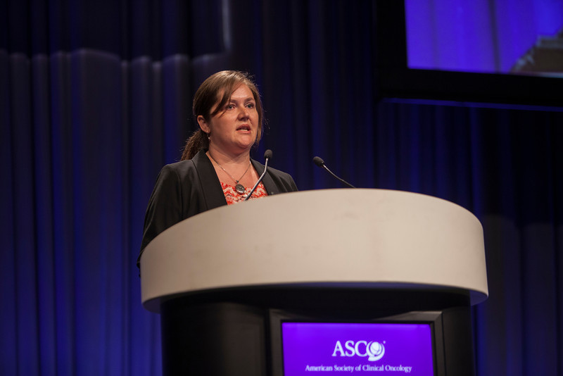 """Chicago, IL - ASCO 2013 Annual Meeting: - Dr Natalie Cook presents her abstract  """"A randomized phase III study of docetaxel"""" at the American Society for Clinical Oncology (ASCO) Annual Meeting here today, Monday June 3, 2013.  Over 30,000 physicians, researchers and healthcare professionals from over 100 countries are attending the meeting which is being held at the McCormick Convention center and features the latest cancer research in the areas of basic and clinical science. Photo by © ASCO/Silas Crews 2013 Technical Questions: todd@toddbuchanan.com; ASCO Contact: photos@asco.org"""