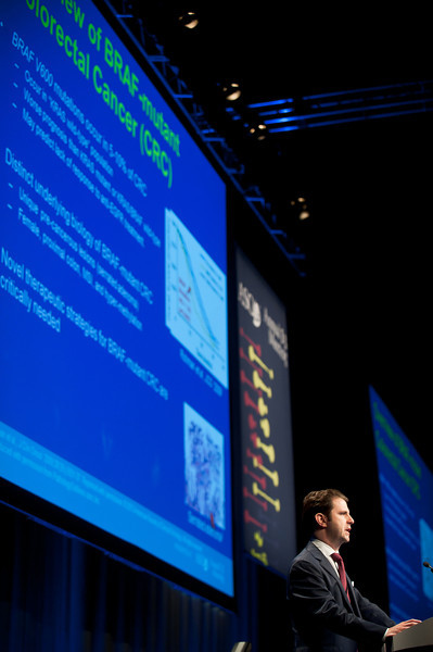 """Chicago, IL - ASCO 2013 Annual Meeting: - Ryan B. Corcoran, MD, PhD, during """"#3507 Ryan B. Corcoran, MD, PhDPharmacodynamic and efficacy analysis of the BRAF inhibitor dabrafenib (GSK436) in combination with the MEK inhibitor trametinib (GSK212) in patients with BRAFV600 mutant colorectal cancer (CRC). """" at the American Society for Clinical Oncology (ASCO) Annual Meeting here today, Saturday June 1, 2013.  Over 30,000 physicians, researchers and healthcare professionals from over 100 countries are attending the meeting which is being held at the McCormick Convention center and features the latest cancer research in the areas of basic and clinical science. Photo by © ASCO/Brian Powers 2013 Technical Questions: todd@toddbuchanan.com; ASCO Contact: photos@asco.org"""