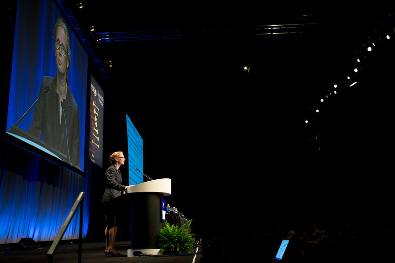Chicago, IL - ASCO 2013 Annual Meeting: - Emily K. Bergsland during GI (colorectal) oral at the American Society for Clinical Oncology (ASCO) Annual Meeting here today, Saturday June 1, 2013.  Over 30,000 physicians, researchers and healthcare professionals from over 100 countries are attending the meeting which is being held at the McCormick Convention center and features the latest cancer research in the areas of basic and clinical science. Photo by © ASCO/Brian Powers 2013 Technical Questions: todd@toddbuchanan.com; ASCO Contact: photos@asco.org