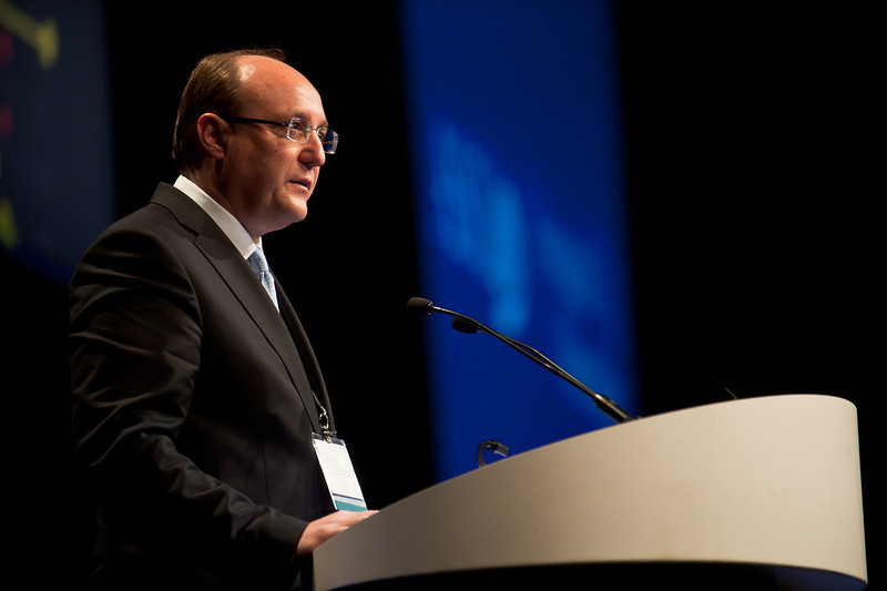"""Chicago, IL - ASCO 2013 Annual Meeting: - Dieter Koeberle, MD, during """"#3503 Dieter Koeberle, MD Bevacizumab continuation versus no continuation after first-line chemo-bevacizumab therapy in patients with metastatic colorectal cancer: A randomized phase _ noninferiority trial(SAKK41/06)."""" at the American Society for Clinical Oncology (ASCO) Annual Meeting here today, Saturday June 1, 2013.  Over 30,000 physicians, researchers and healthcare professionals from over 100 countries are attending the meeting which is being held at the McCormick Convention center and features the latest cancer research in the areas of basic and clinical science. Photo by © ASCO/Brian Powers 2013 Technical Questions: todd@toddbuchanan.com; ASCO Contact: photos@asco.org"""
