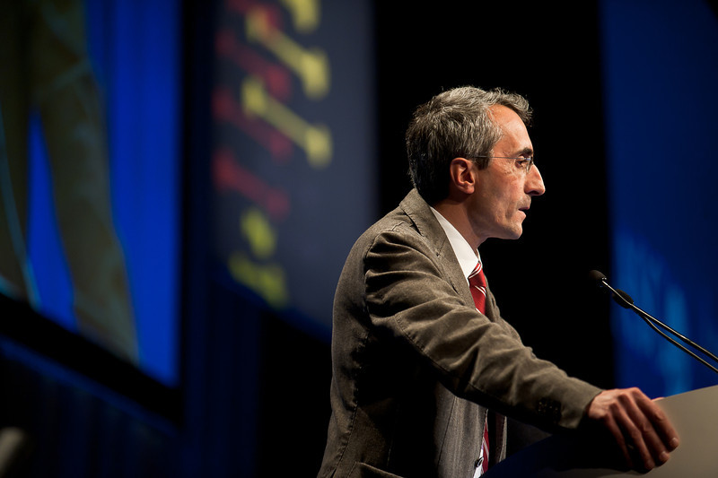 """Chicago, IL - ASCO 2013 Annual Meeting: - Alfredo Falcone, MD,  during """"#3505 Alfredo Falcone, MD FOLFOXIRI/bevacizumab (bev) versus FOLFIRI/bev as first-line treatment in unresectable metastatic colorectal cancer (mCRC) patients (pts): Results of the phase III TRIBE trial by GONO group. """" at the American Society for Clinical Oncology (ASCO) Annual Meeting here today, Saturday June 1, 2013.  Over 30,000 physicians, researchers and healthcare professionals from over 100 countries are attending the meeting which is being held at the McCormick Convention center and features the latest cancer research in the areas of basic and clinical science. Photo by © ASCO/Brian Powers 2013 Technical Questions: todd@toddbuchanan.com; ASCO Contact: photos@asco.org"""