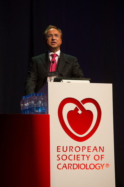 """Munich,  - ESC 2012- B Pieske (Graz, AT) presents """"Aldo-DHF: Aldosterone Receptor Blockade in Diastolic Heart Failure"""" during the HOTLINE session at the European Society of Cardiology annual meeting here today, Sunday August 26, 2012. Over 27,000 attendees have come from over 140 countries to learn the latest in Caridovascular research. Photo by © Todd Buchanan 2012 Technical Questions: todd@toddbuchanan.com;"""