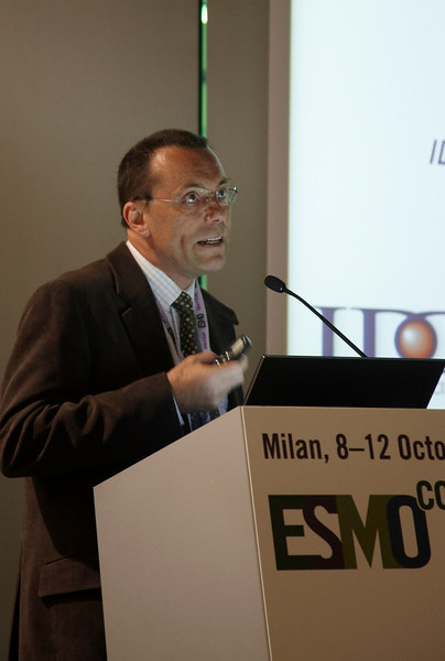 "Milan,  - ESMO 2010 - Dr. Marc Buyse speaks at the Young Oncologist Masterclass: ""The Importance of conductiing well-designed clinical trials"" here today, Friday October 8, 2010 during the European Society of Medical Oncology 2010 Congress. Photo by © Todd Buchanan 2010 Technical Questions: todd@toddbuchanan.com Phone: +1.612.226.5154"