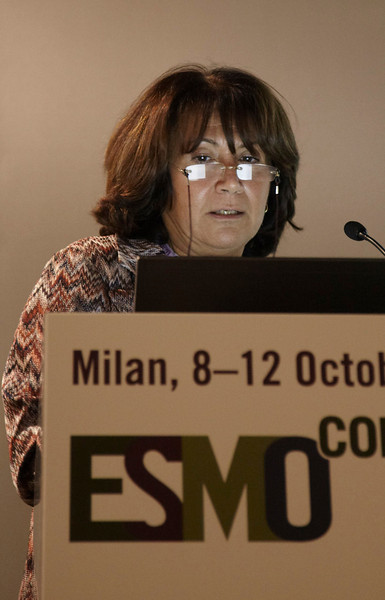 "Milan,  - ESMO 2010 - Dr. Maria Grazia Daidone speaks at the Young Oncologist Masterclass: ""The Importance of conductiing well-designed clinical trials"" here today, Friday October 8, 2010 during the European Society of Medical Oncology 2010 Congress. Photo by © Todd Buchanan 2010 Technical Questions: todd@toddbuchanan.com Phone: +1.612.226.5154"