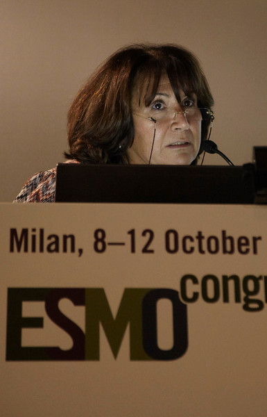 """Milan,  - ESMO 2010 - Dr. Maria Grazia Daidone speaks at the Young Oncologist Masterclass: """"The Importance of conductiing well-designed clinical trials"""" here today, Friday October 8, 2010 during the European Society of Medical Oncology 2010 Congress. Photo by © Todd Buchanan 2010 Technical Questions: todd@toddbuchanan.com Phone: +1.612.226.5154"""
