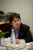 Milan,  - ESMO 2010 - Dr. Masahiro Tsuboi chairs a roundtable with guest Dr. Enriqueta Felip on the subject of Controversy on the Adjuvant Chemotherapy of patients with Non-small Cell Lung Cancer here today, Monday October 11, 2010 during the European Society of Medical Oncology 2010 Congress. Photo by © Todd Buchanan 2010 Technical Questions: todd@toddbuchanan.com Phone: +1.612.226.5154