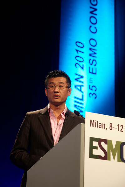 Milan,  - ESMO 2010 - Dr. Tony Mok addresses the Proffered Papers Session: Chest Tumors II here today, Monday October 11, 2010 during the European Society of Medical Oncology 2010 Congress. Photo by © Todd Buchanan 2010 Technical Questions: todd@toddbuchanan.com Phone: +1.612.226.5154