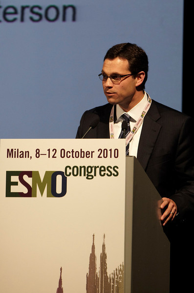 Milan,  - ESMO 2010 - Dr. David Spigel speaks at the Proffered Paper Session: Chest Tumors I here today, Saturday October 9, 2010 during the European Society of Medical Oncology 2010 Congress. Photo by © Todd Buchanan 2010 Technical Questions: todd@toddbuchanan.com Phone: +1.612.226.5154
