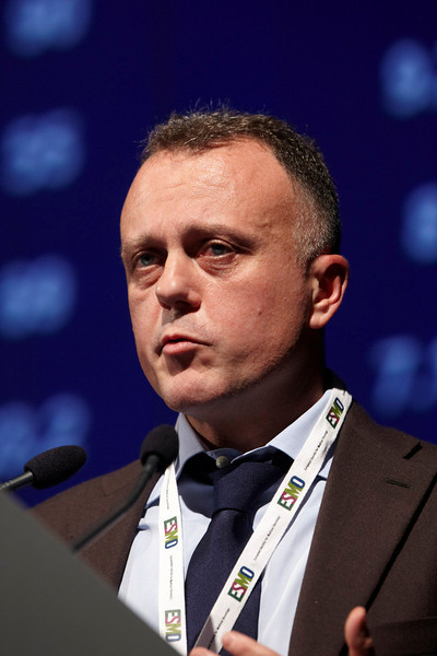 Milan,  - ESMO 2010 - Dr. Frederico Cappuzzo speaks during the Educational Session on Individualized approach to NSCLC here today, Sunday October 10, 2010 during the European Society of Medical Oncology 2010 Congress. Photo by © Todd Buchanan 2010 Technical Questions: todd@toddbuchanan.com Phone: +1.612.226.5154
