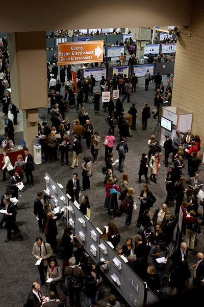 San Antonio, TX - SABCS 2008 San Antonio Breast Cancer Symposium: Crowds fill the Poster Session at the end of the day at the 2008 San Antonio Breast Cancer Symposium here today, Friday December 12, 2008. Over 8,000 Physicians, researchers and healthcare professionals from over 50 countries attended the meeting sponsored by American Association of Cancer Researchers (AACR) and the University of Texas, which features the latest research on Breast Cancer Treatment and Prevention. Date: Friday December 12, 2008 Photo by © SABCS/Todd Buchanan 2008 Technical Questions: todd@toddbuchanan.com; Phone: 612-226-5154.