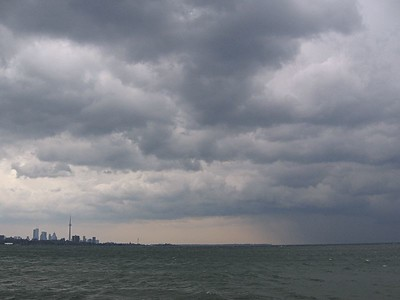 Rain over Lake Ontario