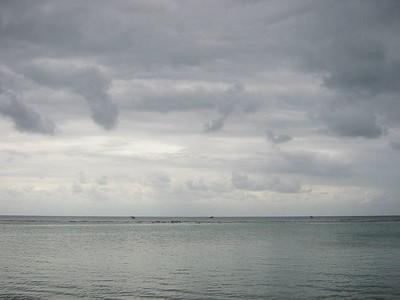 Clouds, Reef, Water -- Roatan, Honduras