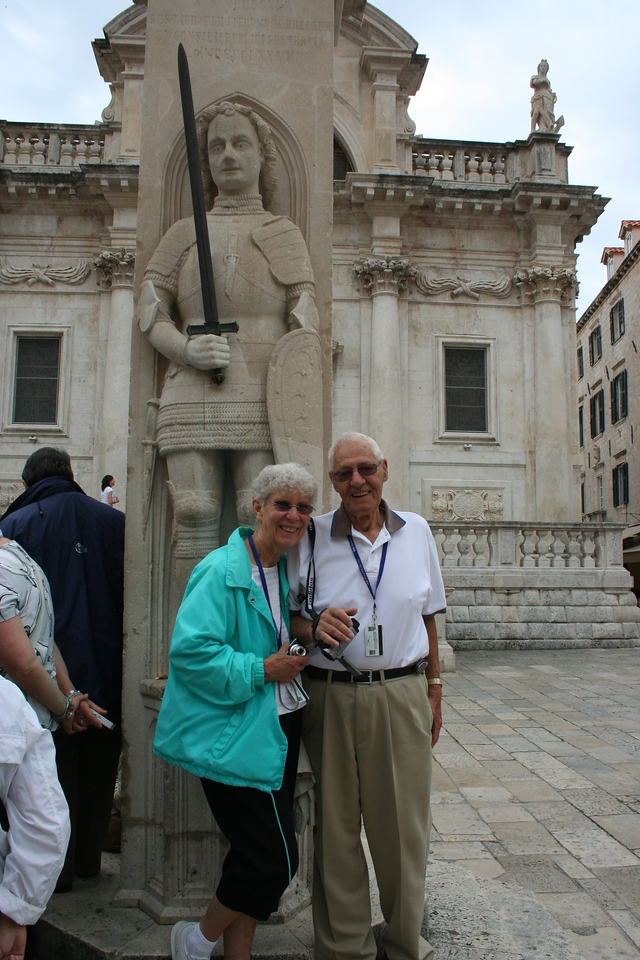 Mom & Dad in front of Orlando's Column