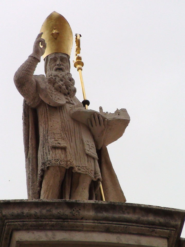 Statue of St. Blaise on top of the church