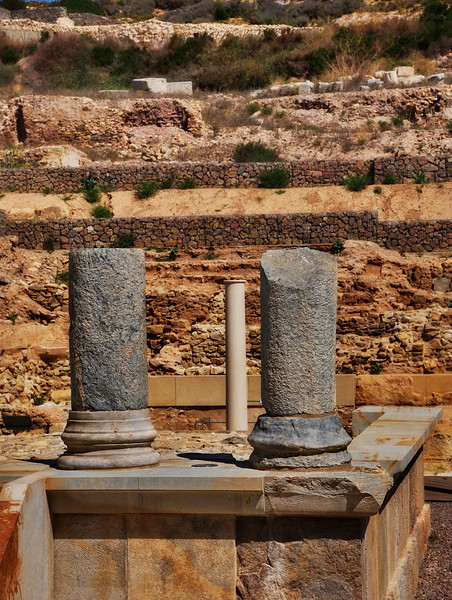 Roman columns in the middle of Cartagena.
