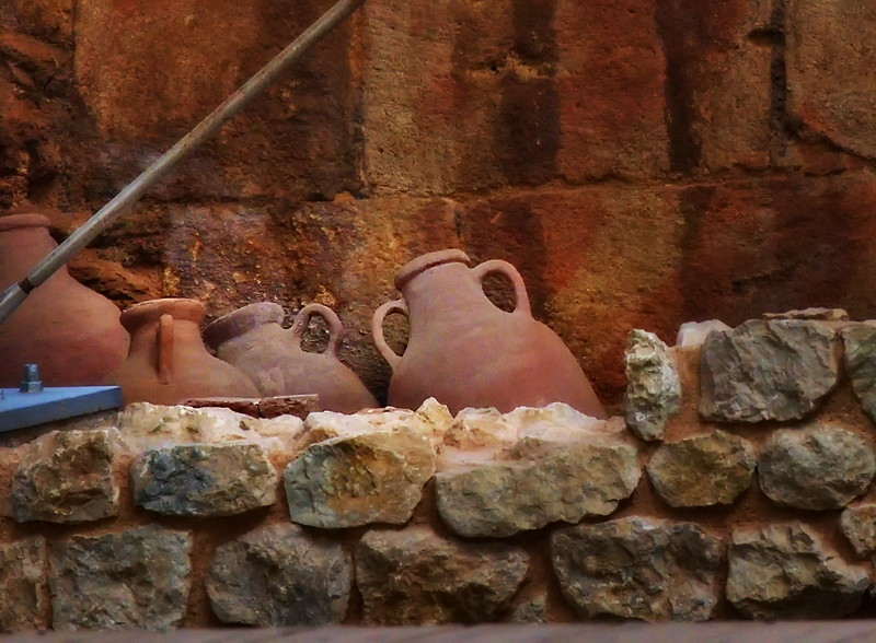 Amphoras, Roman jars, uncovered in an excavation.