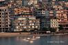 Sunrise-&-new-construction,-Sarande,-Albania
