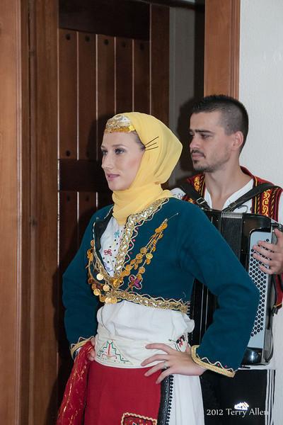 Albanian-forkloric-dancers,-Tirana,-Albania