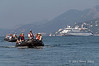 Clipper-Odyssey-and-zodiacs-off-Corfu,-Greece