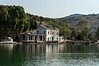 Vivari-Channel,-abandoned-customs-house-with-gun-emplacements,-Albania