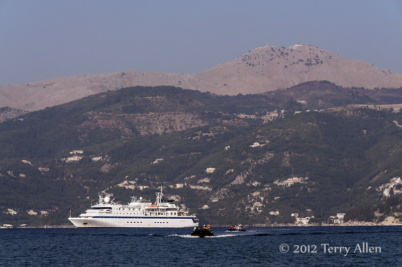 Clipper-Odyssey-anchored-off-Corfu,-Greece